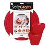 Safe Grabs Safe Pack Bundle: Original Multi-Purpose Silicone Microwave Mat + New Butterfly Mitts | As Seen on Shark Tank, GMA & The View (BPA Free, Heat Resistant, Dishwasher Safe), Red