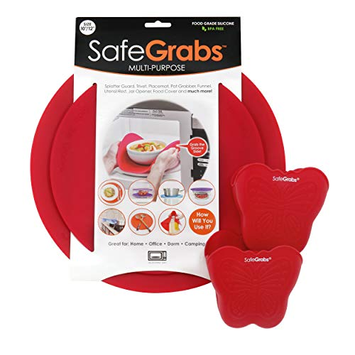 Safe Grabs Safe Pack Bundle: Original Multi-Purpose Silicone Microwave Mat + NEW Butterfly Oven Mitts | As Seen on Shark Tank, GMA & The View (BPA Free, Heat Resistant, Dishwasher Safe), Red