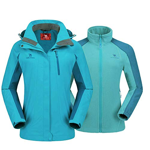 CAMEL CROWN Women s 3 in 1 Waterproof Outdoor Jacket, Windproof Ski Jacket with Removable Fleece Warm Jacket, Ladies Winter Coat with Hood and Pockets for Mountain Walking Camping Snowboarding