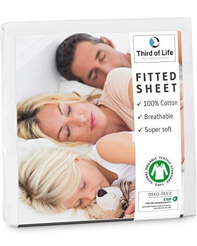 Third of Life Spannbettlaken 160x200 cm aus 100% Oekotex-Baumwolle, GOTS Zertifiziert I Das atmungsaktive & fusselfreie Bettlaken ALBA ist elastisch & weich I Designed in Germany I 20 cm Höhe, weiß