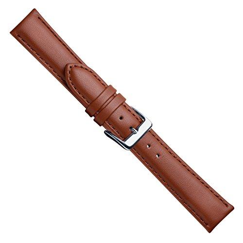 Uhrbanddealer Unisex Uhrenarmband 20mm Ersatzband Seidensoft Leder Braun 106020s