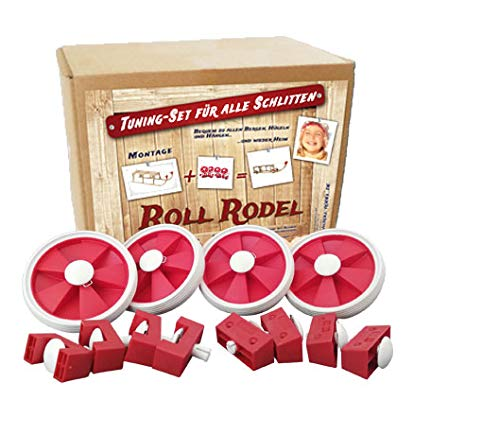 Roll Rodel Bausatz (ohne Schlitten) - Tuning Set für alle Holzschlitten / Rollen für Kinderschlitten / Räder für Schlitten aus Holz