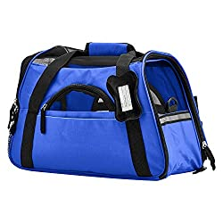 "OxGord® Pet Carrier Soft Sided Cat / Dog Comfort ""FAA Airline Approved"" Travel Tote Bag - 2015 Newly Designed, Large, Sapphire Blue"
