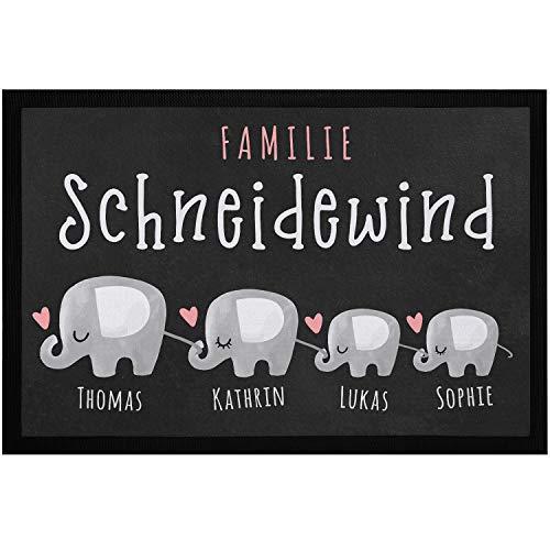 SpecialMe® Fußmatte mit Namen personalisiert Elefanten-Familie Wunschnamen anpassbar rutschfest & waschbar weiß 60x40cm