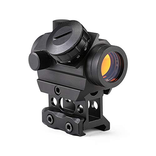 "Pinty 1x25mm Tactical Red Dot Sight 3-4 MOA Compact Red Dot Scope 1"" Riser Mount for Cowitness with Iron Sights Waterproof and Shockproof Scratch Resistant Amber Lens"