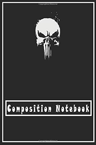 Composition Notebook: Notebook: Marvel Punisher Classic Skull Symbol Graphic Blank Comic Notebook...
