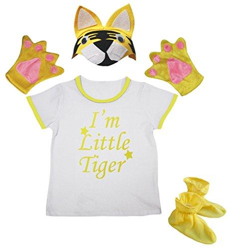 Petitebelle Je suis Little Tiger T-shirt jaune Chapeau Gants Chaussures Fille 4pc Costume 3-4 ans Jaune blanc