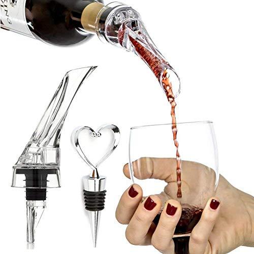 Dlife(TM) Vin Rouge Aération Verseur Voyage-Taille Aérateur de Vin avec Support Amour Coeur Design Bouchon de Vin Bouteille