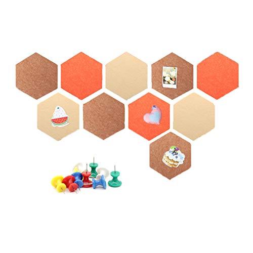 Coriver 10 piezas de tablero de corcho de fieltro hexagonal, tablero de anuncios, azulejos de bricolaje, tableros de alfileres autoadhesivos con 50 alfileres para notas de fotos de oficina (Set 2)