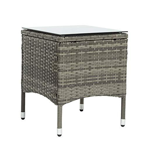 belupai Juego de muebles de jardín de polirratán para 2 personas, 1 mesa y 2 sillones, resistente a la intemperie, para jardín, balcón y terraza, incluye cojines de asiento de color gris