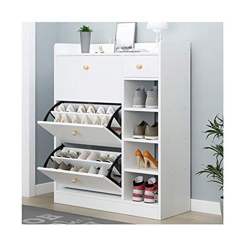 Zapatero con 2 cajones de múltiples capas para el hogar, sala de estar, almacenamiento multifuncional, zapatero (color: blanco)