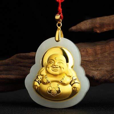 Hetian Natural Jade Collares colgantes de oro puro auténtico Buda colgante hombres collar joyería fina