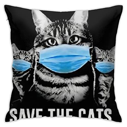 Save-Cats Cushion Cover Sofa Decorative Throw Pillow Case for Home Decor 18x18 Inch