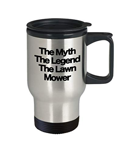 De mythe de legende de grasmaaier reizen koffiemok staal grappig geschenk voor gazon zorg specialist landscaper vader man broer partner