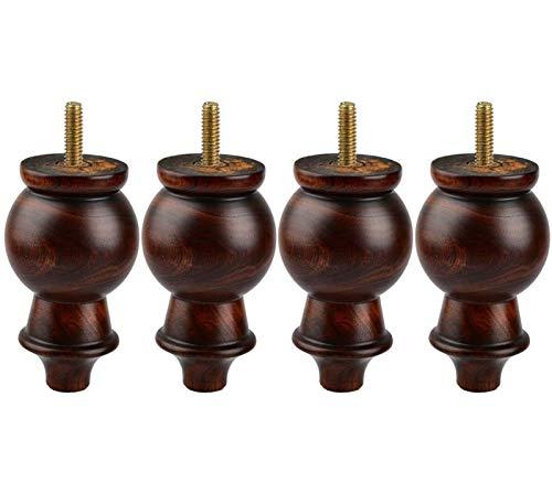 YYT Patas de madera para muebles de 14 cm, 4 piezas de husillo de esmalte M8 de repuesto de madera maciza preperforada de 5/16 pulgadas, tornillos de placa de montaje para sofá, sofá, armario, mesa