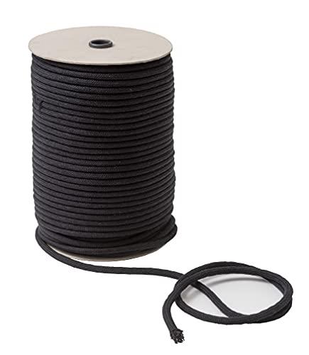 IPEA Cuerda de algodón de macramé negro – 6 mm x 100 metros – Rollo súper largo – Fabricado en Italia – Hilo de coser para manualidades, decoración, tapizados y cortinas – Cordón – 0,6 cm