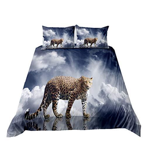 Wilde Tiere Bettwäsche 3D Geparden Tiger Löwe Elefant Zebra Eisbär Leoparden Muster Bettbezug Kissenbezüge Tagesdecke aus Mikrofaser Jungen Schlafzimmer Tröster Cover Set (Muster 1,135x200cm)