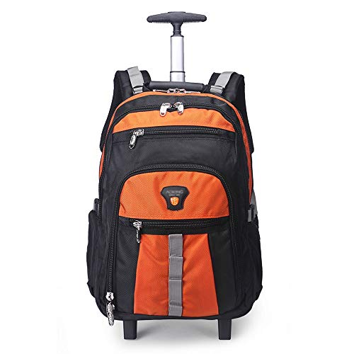 QINQIGBJ 20 inches Wheeled Rolling Backpack for Boys and Girls,School Bags Student Laptop Books Travel Backpack Bag (Color : Orange)