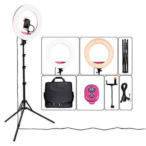 Ring Light, Kit de Lampe de Poche LED Externe de 14 Pouces 40W 5800K 432 LED dimmable avec télécommande Bluetooth/Support/Sac à Dos réglable pour éclairage de 2 m, Portrait-Rose