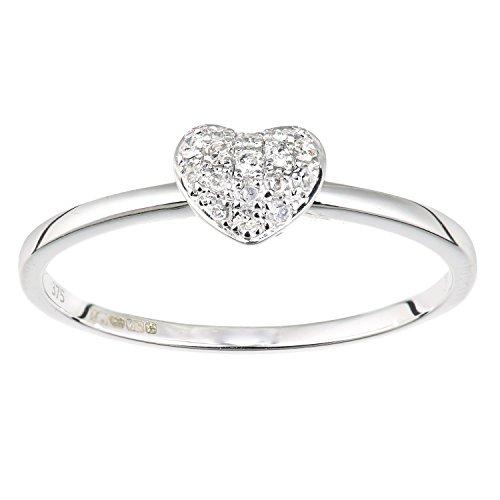 Naava Anello da Donna, in Oro Bianco 9K, con Diamante, Taglio Brillante Rotondo, Misura 18.1