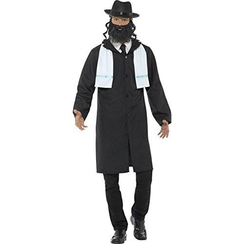 """Smiffys-44689M Disfraz de rabino, con Chaqueta, pa¤uelo, Sombrero y Barba, Color Negro, M-Tamaño 38""""-40"""" (Smiffy"""
