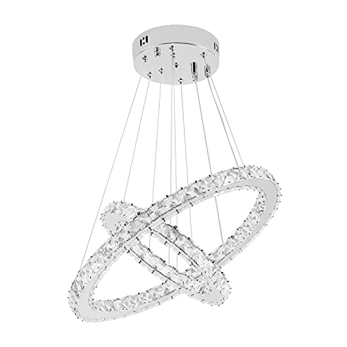 SAILUN 48W LED cristallo Design Lampada A Sospensione Due Anelli lampada a sospensione lampadario creativo lampadario da soffitto lampadario (48W Bianco freddo)