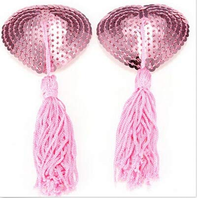 TONGDAUR 1 Paar Women Lingerie Borst Bra Sexy Heart Shape Sequin Tassel Tepel Stikkers Pasties Stickers (Color : Pink, Size : Free)