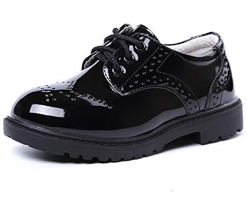 PPXID Zapatos con cordones para niños, impermeables, para la escuela, Oxfords uniformes, bodas, traje, color Negro, talla 26 EU