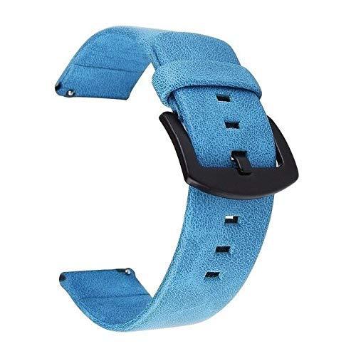 De Galen Correa de reloj de cuero auténtico para Samsung Galaxy Watch de 46 mm y 42 mm, 18 mm, 24 mm, de 20 mm, 22 mm, 18 mm, 24 mm, correa de repuesto (color: azul, tamaño: 24 mm)