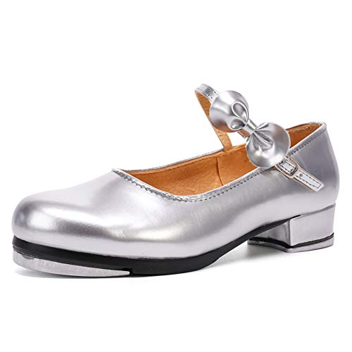 TINRYMX Character Girls Mary Jane Silver Rhythm Dance Tap Shoes with Bow(Little Kid/Big Kid/Women) 3M US Child