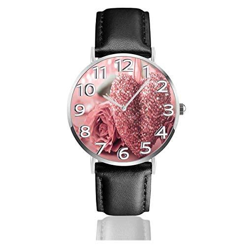 Reloj de Pulsera Rose Love Wedding Durable PU Correa de Cuero Relojes de Negocios de Cuarzo Reloj de Pulsera Informal Unisex