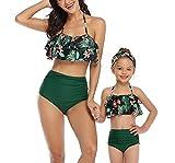 Traje de baño para Padres e Hijos Bikini Mujer + Niña Dos Juegos de Traje de baño Estampado de Cintura Alta con Hoja de Loto para Madre e Hija-H-M