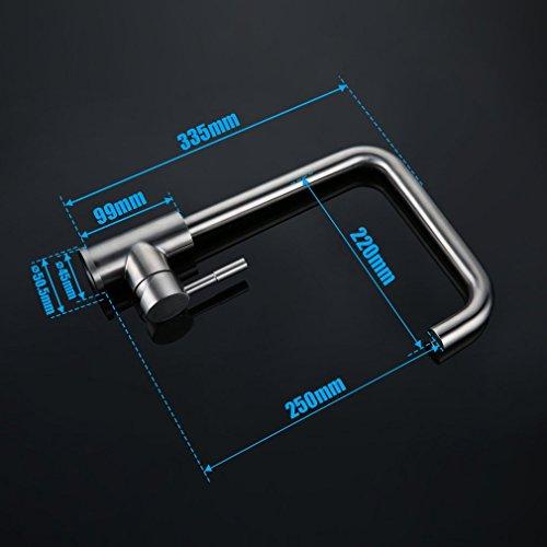 Kinse SUS304 Mischbatterie 360°Drehbar aus Edelstahl mit ABS Bubbler - 2