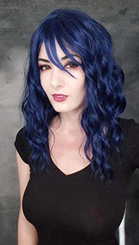 Goodly Navy Blue Short Curly Wavy Wigs with Air Bangs for Women Synthetic Heat Resistant Women's blue bob curly wig for Daily Party Cosplay 14 Inch (Blue Mixed Black)