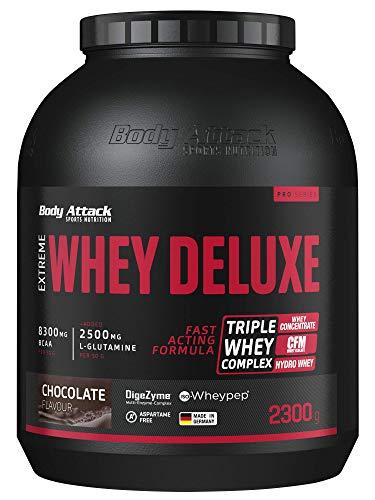 Body Attack Extreme Whey Protein Deluxe - hoher Eiweisgehalt - schnelle Nährstoffverarbeitung - fettarm & zuckerreduziert - 2500mg L-Glutamine - 8 B-Vitamine, Chocolate Cream, 2,3kg, Dose Eiweißpulver