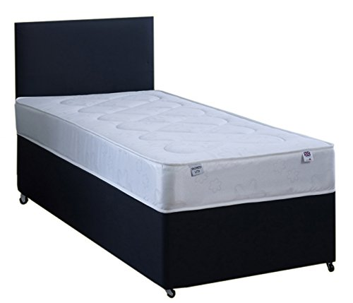 3FT Single Black Faux leather Divan Bed Set Including Deep Quilt Mattress And Headboard