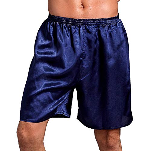 LEYUANA Pantalones de Dormir de Verano para Hombres, Ropa de Dormir de satn slido, bxers, Pantalones Cortos, Pijamas para Hombres, Ropa de hogar, Batas, Ropa Interior XXL Azul