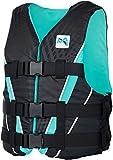 MESLE Auftriebs-Weste V210 W, Damen, XS-XL, schwarz-Aqua, 50-N Schwimmhilfe mit Prallschutz, für Frauen und Mädchen, Wasserski Wakeboard Impact-Weste, Nylon, Boot Jet-Ski Yacht, Größen:XS