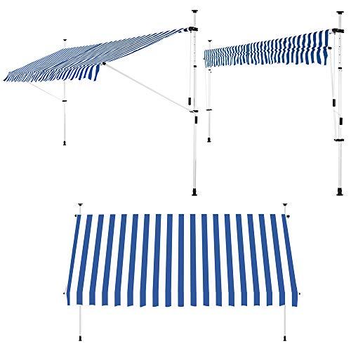 Detex Klemmmarkise 250cm x 180cm Blau-Weiß mit Handkurbel Balkonmarkise UV-beständig höhenverstellbar wasserabweisend