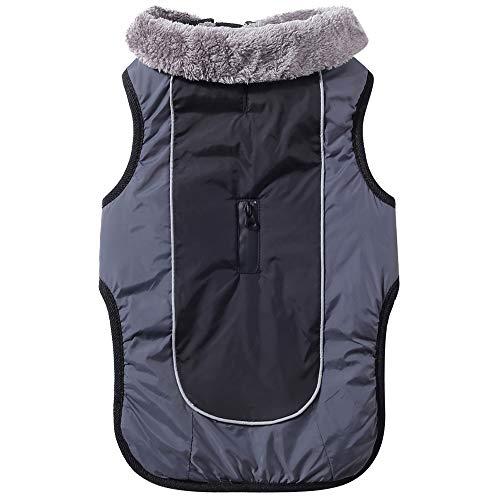 JoyDaog Fleecehalsband Hundemäntel für mittelgroße Hunde, wasserdichte warme Baumwoll-Hundejacke für kalte Winter, Schwarz M