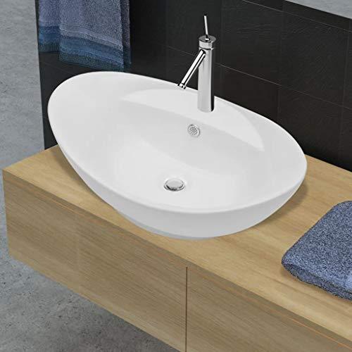 Lechnical Lussuoso lavabo in Ceramica Ovale + troppopieno 59 x 40 cm Lavabo da appoggio Lavandino Wash Bowl Vanity lavello
