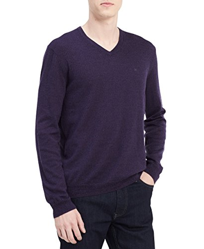 Calvin Klein Men's Merino Solid V-Neck Sweater, Purple Black Amethyst Mouline, Small
