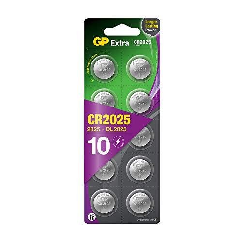 GP Extra Lithium Knopfzellen CR2025 3V, 10 Stück Knopfbatterien 2025 / DL2025 3 Volt Spannung (Original Blisterverpackung, Batterien einzeln entnehmbar)