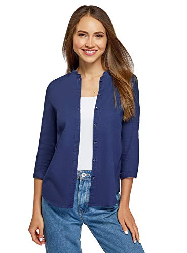 oodji Collection Mujer Blusa Básica de Algodón, Azul, ES 42 / L
