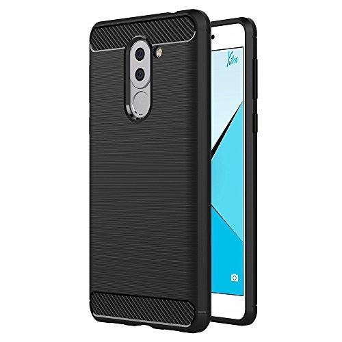 Huawei Honor 6X Hülle, MHHQ Flexiblem Ultra Slim Carbon Fibre TPU Hülle Silikon Hybrid Schutzhülle Kohlenstoff-Fasern Tasche Slim-Fit Cover für Huawei Honor 6X/ GR5 2017 / Huawei Mate 9 Lite -Schwarz