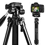 ESDDIPhoto Trípode para cámara de 170 cm, de Aluminio, Compacto y Ligero, para Smartphone, DSLR, Canon, Sony, Olympus, con Soporte para teléfono móvil, Carga máxima de 5 kg