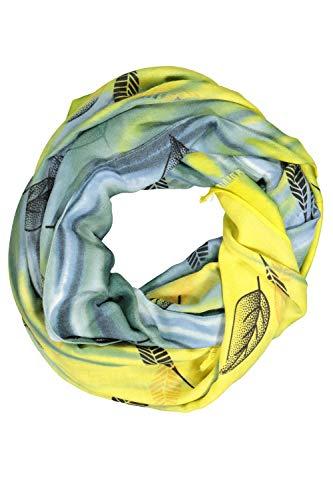 GINA LAURA Damen Schal, Blättermuster, Batikoptik, Twillqualität mattes gelb 1Size 782465620-1