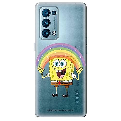 Movilshop Funda para [ OPPO Reno 6 5G ] Bob Esponja Oficial [Arco-Iris] Nickelodeon de Silicona Flexible Transparente Carcasa Case Cover Gel para Smartphone.