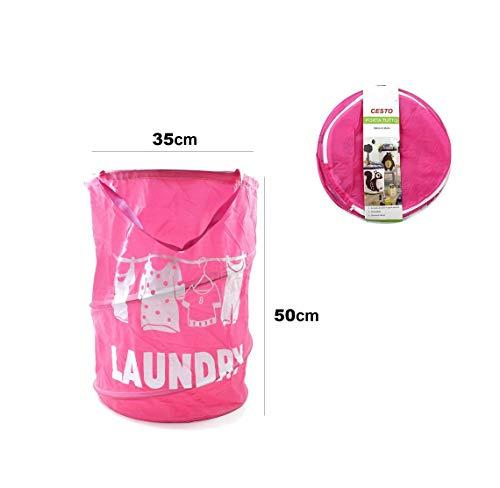 takestop® wasmand opvouwbaar roze 35 x 50 cm van stof LAUNDAY opbergtas voor alle bomen