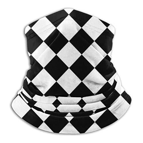 Tour de Cou Cagoule Microfibre Chapeaux Tube Masque Visage, Multifunction Neck Face Mask Black and White Diamond Lattice Ski Mask Scarf Cold Weather Windproof Winter Sports,for Womans
